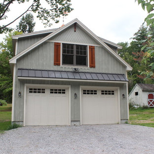 Example of an arts and crafts garage design in Boston