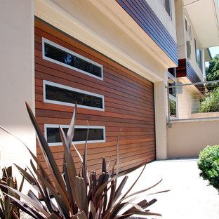 San Francisco, CA Custom-Made Ipe Garage Door in a Modern Architectural Design