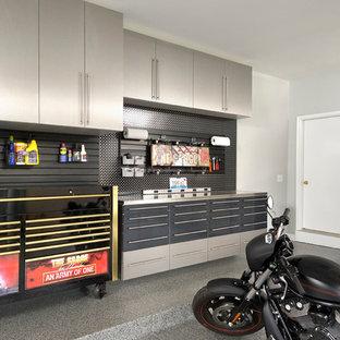 Foto di garage e rimesse minimal con ufficio, studio o laboratorio