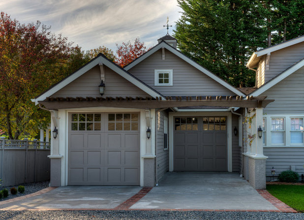 Tale of 2 car shelters craftsman garage and contemporary for Craftsman carport