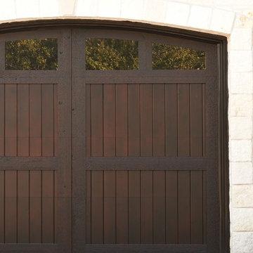 Sleek Dark Stained Wood Garage Door