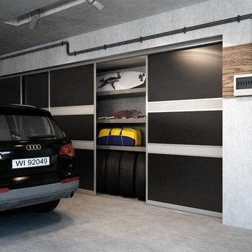 Sliding doors garage storage space solutions