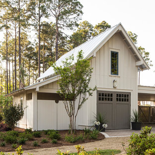 Inspiration for a beach style one-car garage remodel in Charlotte