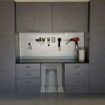 Steelhead Epoxy Garage Flooring & Grey Cabinets | Decatur, GA