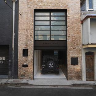 Свежая идея для дизайна: гараж в стиле лофт для одной машины - отличное фото интерьера