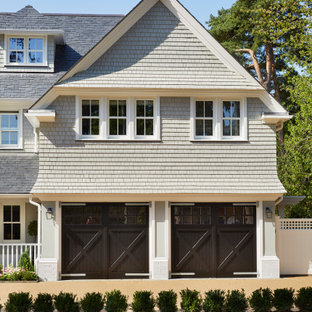 Inspiration for a large beach style attached double garage in Hertfordshire.