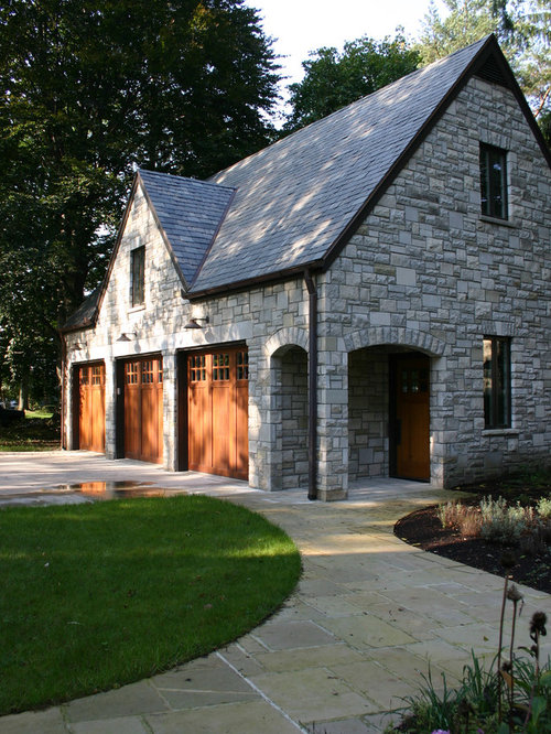 Stone garage home design ideas pictures remodel and decor for Exterior stone design houses