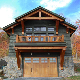 Example of a mountain style detached garage design in New York