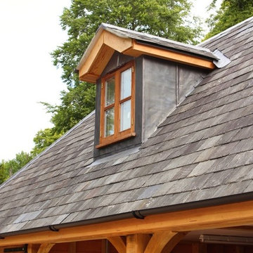 Traditional Dormer Finished with Slate Roofing on an Oak Framed Garage with Room