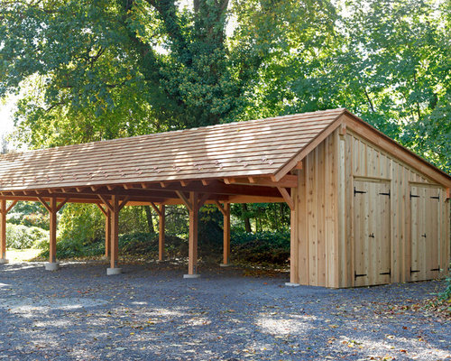 Timber carport kits houzz for A frame house plans with attached garage