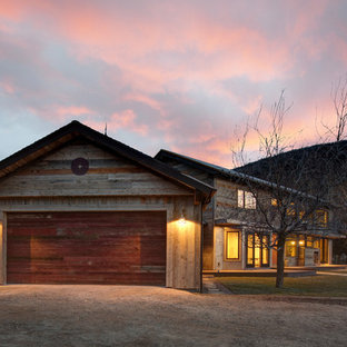 This is an example of a rustic attached double garage in Salt Lake City.