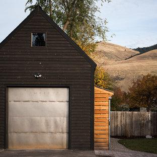 Inspiration for an industrial detached one-car garage in Other.