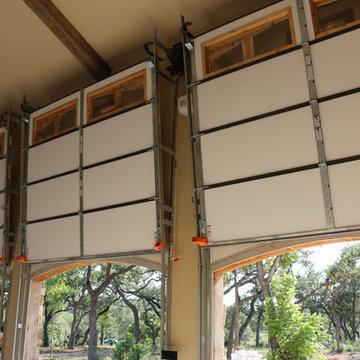 Vertical-lift real-wood overhead garage doors