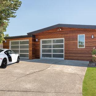 Idées déco pour un garage pour deux voitures attenant rétro.
