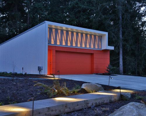 Freistehende industrial garagen ideen design bilder houzz - Gartenhaus maritim einrichten ...