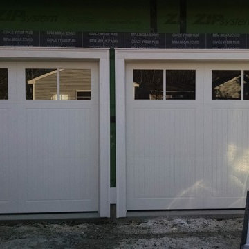 White Carriage House Garage Doors with Windows