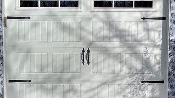 White Overhead Garage Door With Rectangular Windows
