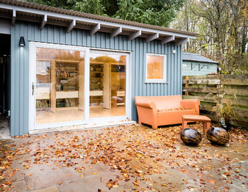 Garden office with plywood interior