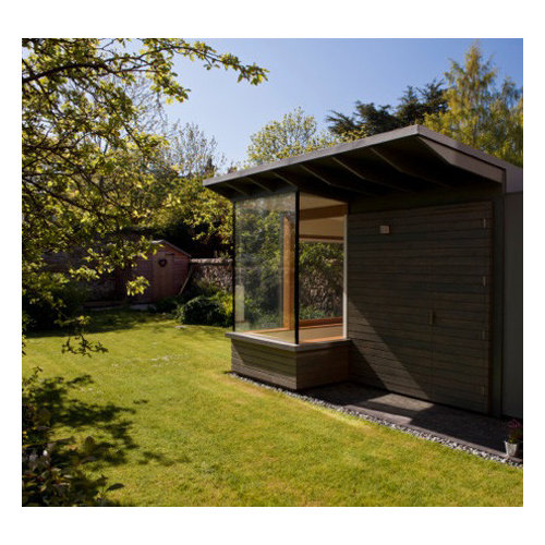 this is an example of a scandinavian garden shed and building in edinburgh