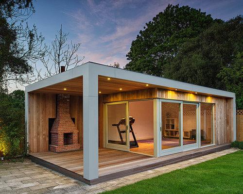 Contemporary garage and shed ideas design photos houzz for Garden studio uk