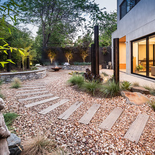 Design ideas for a large asian backyard partial sun garden in Melbourne with a fire feature and gravel.