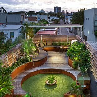Geometrischer Moderner Dachgarten mit direkter Sonneneinstrahlung und Dielen in Melbourne