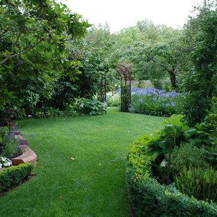 Idée de décoration pour un jardin arrière tradition avec des bordures.