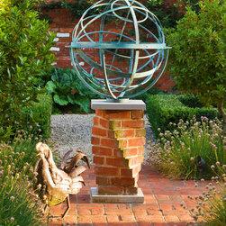 Armillary Sundial - Garden sphere - verdigris bronze armillary sphere sundial on unusual twisted brick plinth