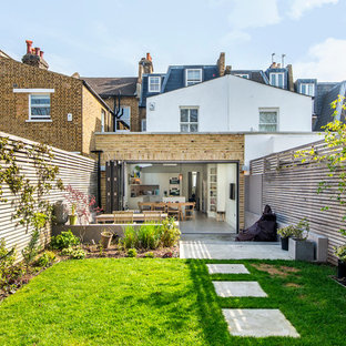 This is an example of a contemporary back garden in London.