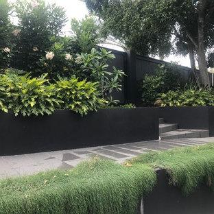 Bild på en mellanstor tropisk trädgård i full sol framför huset, med naturstensplattor