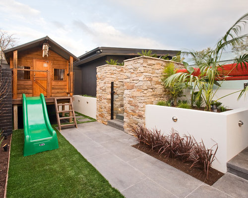 Inspiration For A Large Contemporary Backyard Garden In Melbourne With A  Water Feature And Natural Stone