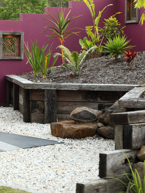 Landscaping Pebbles Sunshine Coast : Wood retaining wall houzz