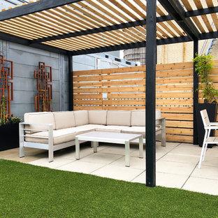 Immagine di un giardino design esposto a mezz'ombra sul tetto in estate con un giardino in vaso e pavimentazioni in cemento