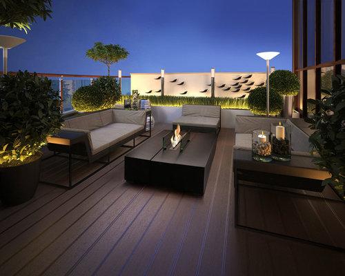 Jardin sur toit contemporain avec un foyer extérieur : Photos et ...