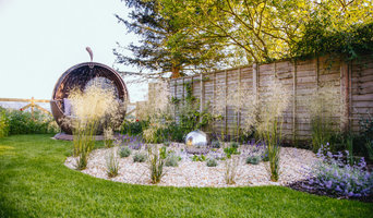 Contemporary Rural Garden with a View - the gravel maze and apple day bed