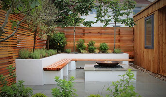 Contemporary Urban Garden with Firebowl & Garden Office