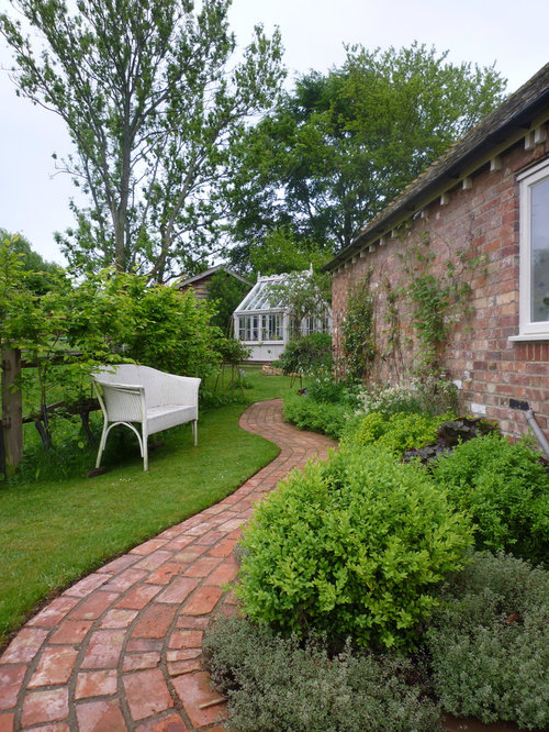 Rural Side Full Sun Garden In Other With A Garden Path And Brick Paving.