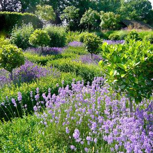 Inredning av en lantlig stor trädgård i full sol blomsterrabatt på sommaren, med naturstensplattor