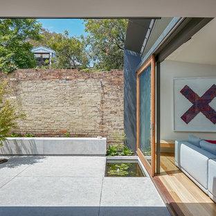 Aménagement d'un petit jardin contemporain l'automne avec une exposition partiellement ombragée et des pavés en pierre naturelle.
