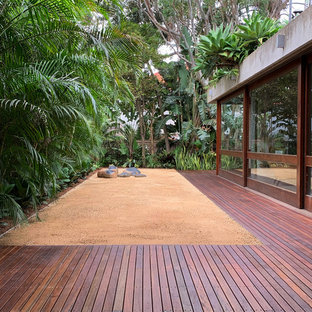 Large tropical backyard full sun formal garden in Sydney with gravel for summer.