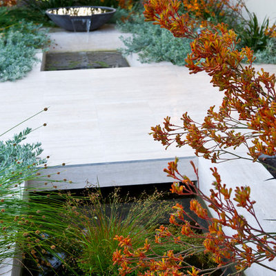 This is an example of a mid-sized contemporary front yard water fountain landscape in Perth.