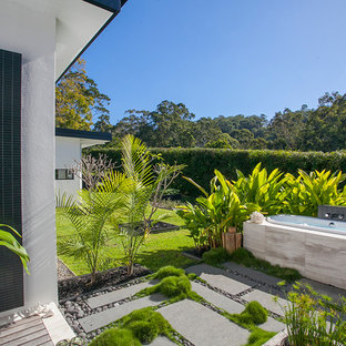 Design Ideas For A Modern Backyard Full Sun Garden In Sunshine Coast With  Concrete Pavers.
