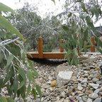 Bridge Over Dry Creek Bed Contemporary Landscape