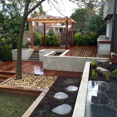 Inspiration for a large contemporary backyard landscaping in Melbourne.