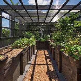 Неиссякаемый источник вдохновения для домашнего уюта: большой участок и сад на заднем дворе в стиле кантри с мульчированием