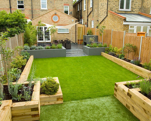 Railway sleepers garden design ideas remodel pictures for Garden design ideas houzz