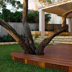 Cedar Inlay Deck Around Oak Tree