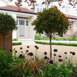 Medium Sized Contemporary Front Driveway Garden In London With Gravel.