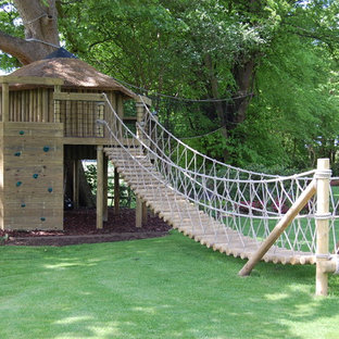 Classic garden in Cheshire with a climbing frame.