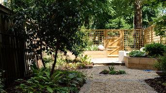 Geometric woodland garden in Glasgow